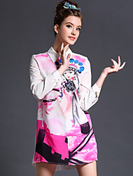 2015 new large size women's Chinese style Peking Opera characters printed long-sleeved dress ethnic print skirt