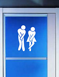Funny WC Male Female Toilet Door Sign Sticker Adhesive Toilet Bathroom Sign (Random Color)