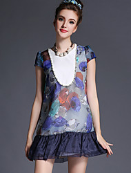 2015 European style large size thin body close fashion sexy heavy Beaded irregular Floral Chiffon Dress