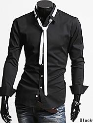 vente chaude mens nouvelle printemps personnalité slim simple chemise à col tour-down de couleur unie à manches longues avec Drop Shipping