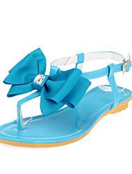 Zapatos de mujer Semicuero Tacón Plano Chanclas Sandalias Vestido Negro/Azul/Rosa/Morado/Beige