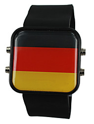 Unisex Germany USA Flag Style Silicone Band Wrist Watch
