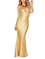 Vestidos ( Oro/Plata , Spandex/Poliéster/Satén elástico (tacto seda) , Ropa de Noche ) - Ropa de Noche - para Mujer