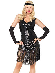 Latin Dance Outfits Women's Performance Spandex/Polyester/Sequined Sequins/Tassel(s) 4 Pieces Black/Silver