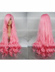 Hot Sale 40 Inches High Temperature Fiber Long Curly  Pink Cosplay Costume Wig Side Bang