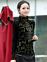Mulheres Blusa Colarinho Chinês/Gola Alta Manga Longa Malha Mulheres