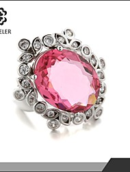 Oval Pink Cubic Zirconia Ring Valentine's Day Gift