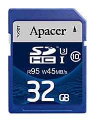 Apacer 32GB UHS-I U3 / Clase 10 SD/SDHC/SDXCMax Read Speed95 (MB/S)Max Write Speed45 (MB/S)