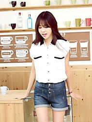 Women's  Straight Flange Wear White Waist Jeans