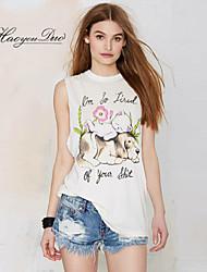 Haoyouduo Women's The Little Dog Print Loose T-shirt