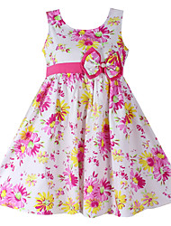 Girls  Fashion Flower Pint  Bow Cotton Party Casual Kids Clothing Dresses