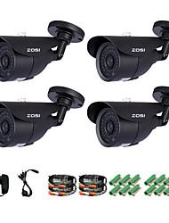 ZOSI® 4 pcs Camera Kit 800TVL IR Cut Night Vision 120ft Waterproof Outdoor CCTV Seurity Camera