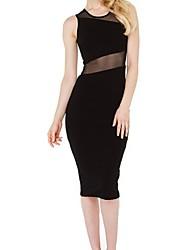 Women's Sexy/Casual Micro-elastic Sleeveless Knee-length Dress (Polyester)