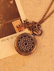 Fashion Small Rabbit Pendant Vintage Antique Bronze Color Cartoon Children Pocket Watches Chain Quartz Movement