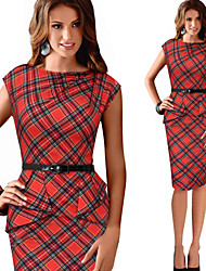 Morefeel Women's Plaid Work Round Sleeveless Pencil Dresses (Cotton Blend)