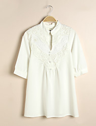 Women's White Shirt , Stand ½ Length Sleeve Lace