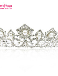 Neoglory Jewelry Wedding Tiara Crown with Austrian Rhinestone and Imitation Pearl Drop for Pageant
