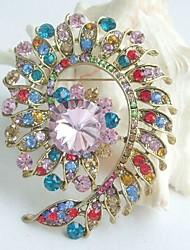 Women Accessories Gold-tone Multicolor Rhinestone Crystal Flower Brooch Art Deco Brooch Bouquet Women Jewelry