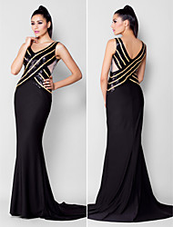TS Couture Formal Evening Black Tie Gala Dress - Sparkle & Shine Trumpet / Mermaid V-neck Court Train Sequined Jersey with Beading Sequins