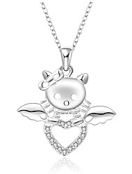 Fine Jewelry 925 Sterling Silver Jewelry  Cute Animal Shape with Zircon Pendant Necklace for Women