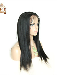 "10""-26"" Glueless Lace Front Wig Straight Peruvian Virgin Hair Color Natural Black Baby Hair for Black Women"