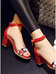 Sandali - Scarpe da donna - Tacco spesso - Tacco spesso DI Pelle