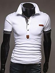 T-Shirts ( Algodão ) MEN - Casual/Trabalho Colarinho de Camisa - Manga Comprida