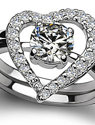 Heart Pattern SONA Diamond Rings Set for Women 0.5CT Solitaire Engagement Ring Matched Lovely Setting Real 925 Silver