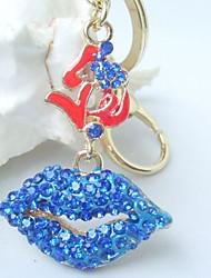 Charming Sexy Lip Key Chain With Blue Rhinestone Crystals