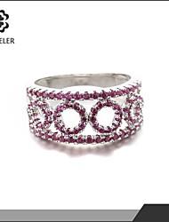 2015 Latest Plating Platinum Colorful Zircon Wedding Ring