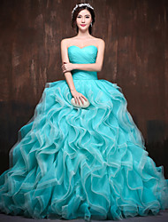 Formal Evening Dress Petite Ball Gown Sweetheart Chapel Train Satin / Tulle / Polyester with Ruffles / Criss Cross