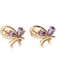 Sjeweler New Female Bee Shape Gold-Plated Colorful Zircon Earrings