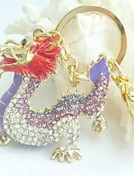Purse Charming Dragon Key Chain With Purple & Clear Rhinestone Crystals