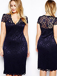 Women's V-Neckline Short Sleeve Thin Lace Dresses