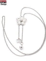 316L Stainless Steel Long Chain Necklace with Flower Pendant & Flower and Ball Charming for Women