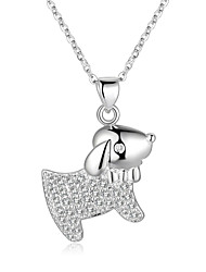 Sweet Style 925 Sterling Silver Jewelry Lovely Dog Pave Zircon Pendant Necklace for Women