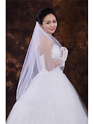 Wedding Veil One-tier Fingertip Veils Beaded Edge Tulle White Ivory Beige