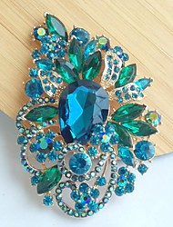 Women Accessories Gold-tone Turquoise Rhinestone Crystal Flower Brooch Wedding Deco Crystal Brooch Bouquet Women Jewelry