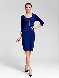 Cocktail Party Dress Sheath / Column Square Knee-length Polyester with