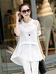 Women's Lace White / Black Blouse , Shirt Collar Short Sleeve