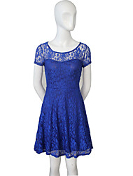 Tracy Women's Casual/Lace Round Short Sleeve Dresses (Lace/Polyester)