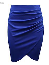 Women's Sexy/Bodycon Micro-elastic Medium Ruffled Skirts (Cotton Blends)