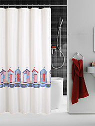 """""""Colorful Cartoon House""""Thicken Fabric Waterproof Shower Curtain"""