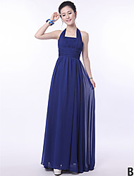 A-Line Strapless Halter One Shoulder V-neck Straps Floor Length Chiffon Bridesmaid Dress with Flower(s) Sash / Ribbon