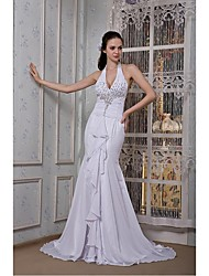 Formal Evening Dress - White Plus Sizes / Petite Trumpet/Mermaid Halter Sweep/Brush Train Chiffon