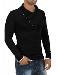 Men's Sexy/Casual/Work/Formal/Sport Pure Long Sleeve Regular T-Shirts (Cotton/Elastic)