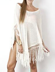 Robes Légères Aux femmes Franges/Couleur Pleine Mélanges de Coton
