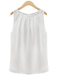 Mulheres Malha Íntima Casual Simples Verão,Sólido Branco / Preto Decote Redondo Sem Manga Média