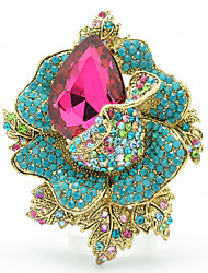 Women's Party Jewelry Rhinestone Flower Rose Brooch Broach Pins (More Colors)