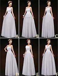 mezclar& vestidos de partido de la gasa de la piso-longitud de encaje y 6 estilos de vestidos de dama de honor (3227801)